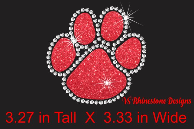 Paw Small Glitter Vinyl and Rhinestone Transfer